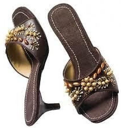 """Avon Brown Bead Cloth/Faux Leather Sandals  Slip on brown cloth & faux leather beaded sandals with a 2"""" heel. Cluster of beads adorn the front of the sandal.  Sizes 9/40 only."""