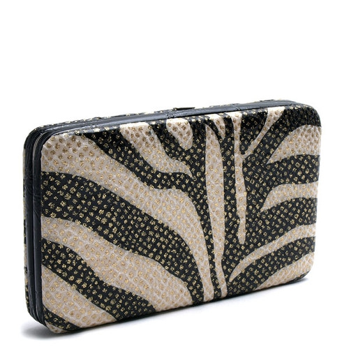 """Black/White Textured Zebra Print Wallet  Black and White large wallet with gold accents; metal frame. Interior features several compartments for change and cards.  Vinyl Exterior Cloth interior Snap closure 9 compartments 7 3/8"""" x 4 1/2"""" closed Made in China"""