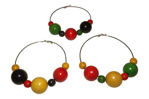 """Extra Large Beaded Hoop Earrings  4.5"""" large beaded hoop earrings in Rasta, Africa colors. Made in China."""