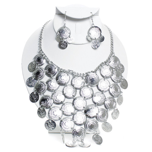 """Silver Breastplate Necklace & Earring Set  Layers of hammered silver colored plates.  Necklace is 19"""" and the matching earring are 1.5"""" in length. Made in India."""