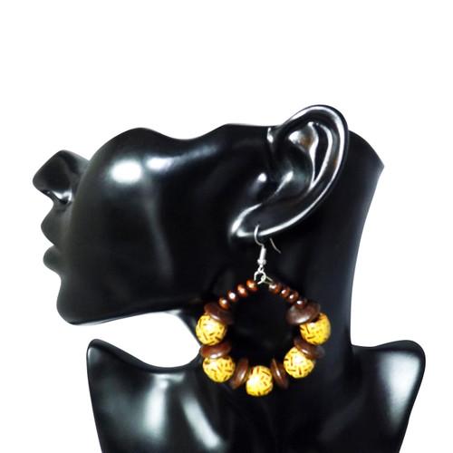 Brown Wooden Beaded Print Hoop Earrings  Medium sized decorated beaded hoop earrings.  Made in Kenya.