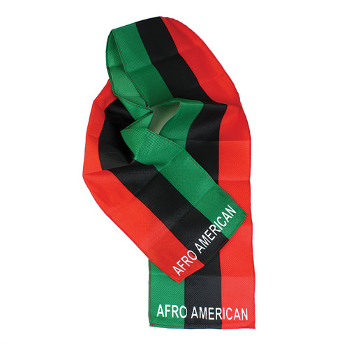 """RBG Scarf  Afro American Flag Scarf. 60"""" x 8"""". 100% polyester."""