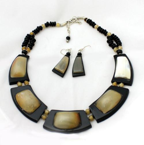 """Quartz Necklace Set Necklace is 14-16"""" long. Earrings are 1"""" long."""