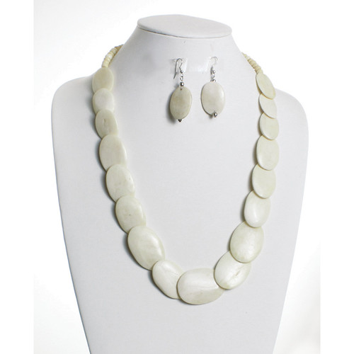 """Necklace is 19"""" circumference, 1"""" long earrings, and 1""""-1 1/4"""" big ivory bone pieces. Made in India."""