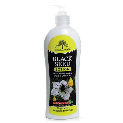 Black seed also known as the seed of blessing and has medicinal properties. This lotion is blended with black seed, honey, oats and green tea. Beneficial in preventing fine lines due to decay, blemishes and oily or dry skin whilst leaving your skin looking soft, young and supple. It is especially good for areas of rough skin such as your knees, feet, elbows, and hands.   Moisturizing and Healing Honey helps to Moisturize Skin , Fight Bacteria, and Anti Aging Oats are Anti – Inflammatory and Skin Soothing. Green Tea Provides Skin with Anti – Oxidants. Shelf life: 18 months after opening  Ingredients: Black Seed, honey nectar, oats, green tea, water, Mineral oil, glycerin, glyceryl stearate, PEG-100 sterate, glycerin 1 monosterate, laureth-7 C13-14 isoparafin, polyacrylamide, fragrance, 2 phenoxyethanol, carbomer, diazolidinyl urea, sodium hydroxide