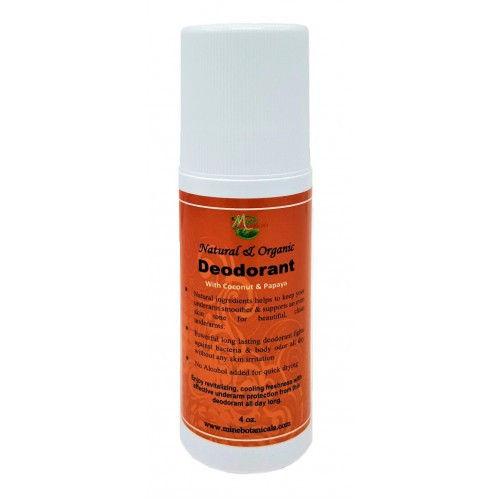 (Coconut & Papaya)   Natural ingredients helps to keep your underarm smoother & supports an even skin tone for beautiful, clean underarms.  Powerful long lasting deodorant fights against bacteria & body odor all day without any skin irritation  No Alcohol added for quick drying Enjoy revitalizing, cooling freshness with effective underarm protection from this deodorant all day long.  Ingredients: Shea Butter Oil, Coconut Oil, Papaya Extract, Vanilla Extract, Lemongrass Oil, Cinnamon Oil, Bergamot Oil, Tea Tree Oil, Lavender Oil, Aloe Vera Extract, Vitamin-E Oil, Coconut Oil, Olive Oil, Sunflower Oil, Grapefruits Seed Extract & Natural Fragrances  Use: Before applying the deodorant, either take a shower or wash your armpits thoroughly to freshen up. Dry with a towel so that the deodorant will roll onto your skin smoothly without smearing. Apply the deodorant at the center of your armpit, working your way outward in all directions until your underarm is completely covered. Reapply throughout the day as needed.  **Natural ingredients may vary in color & consistency. If irritation occurs, discontinue use.