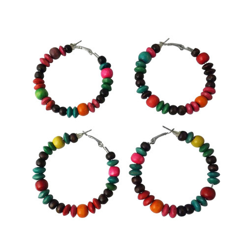 "2.5"" Wooden Multi-Colored Beaded Hoop Earrings  2.5"" handmade beaded hoop earrings in browns or multi-color; stick pin fasten. Handmade in Cameroon."