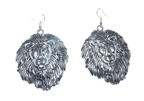 "Lion of Judah Stainless Steel Earrings  Large Lion of Judah stainless steel metal earrings. 2"" big."