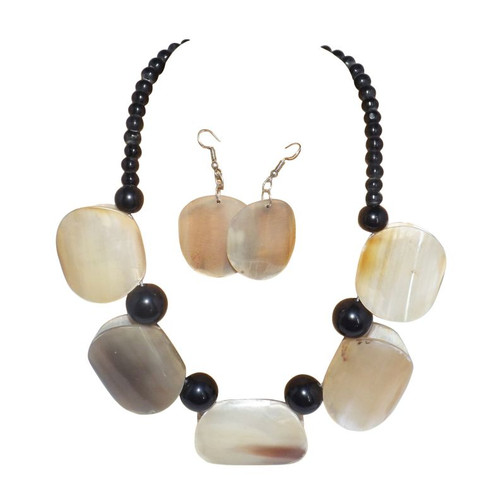 """Horn Block Necklace Set  Who wouldn't notice this beautiful statement horn necklace.  Not to big and not to small, but noticeable. Each block is 1.5"""" wide. Earrings 1"""" wide, and hangs 10-12""""."""