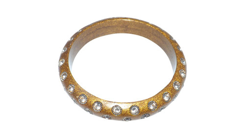 Faux Stone Golden Bangle Bracelet  Gold metal bangle and clear faux stones. Made in India