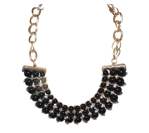 "Black Goddess Beaded Bib Necklace   10"" Gold link chain  holds eye catching black beads and tiny faux like stones, connected to gold chain on either side allows for adjustment of size.  21"" diameter."