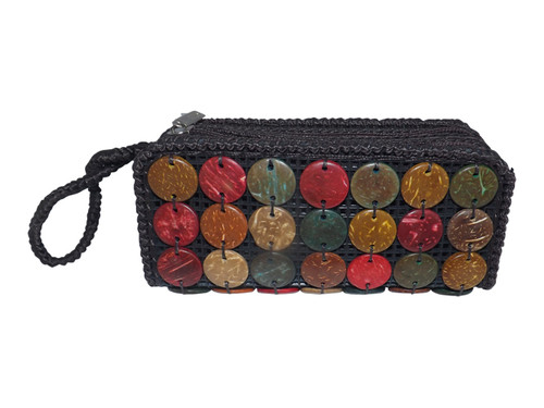 """Coconut Shell Wristlet  Coconut shell wristlet brown coin purse Measures 6.5L"""" X 3.5W"""" Natural earthtone coconut shells  Interior lining is vinyl Features two zippered compartments Use for coins, cards, cash, and cell phones.  Cute and Stylish. Will make a nice gift"""