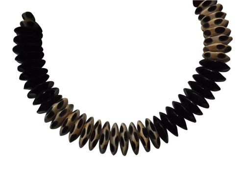 "Black & White Horn Necklace  nice collar necklace; 10"" length hand crafted authentic horn necklace hook fastens"