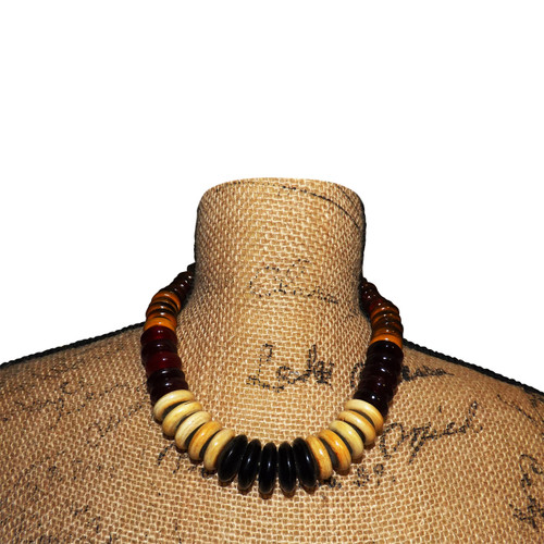 """Resin & Wood Multicolored Beaded Necklace  10"""" resin and wooden beaded necklace in varying earth tone colors. Hook fasten.  Made in Indonesia."""