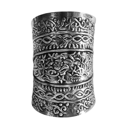 """Silver Engraved Cuff Bracelet  Measures 3.5"""" in length, 1.5"""" opening and 6.5"""" from end to end. Made in India."""