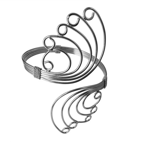 """Silver Butterfly Arm Cuff Bracelet  10"""" arm cuff and adjustable bracelet in the shape of butterfly wings. Made in India."""