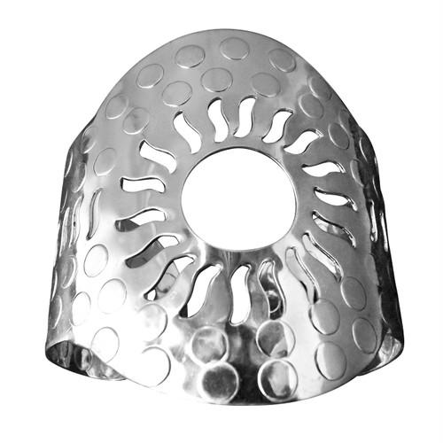 "Silver Sun Cuff Bracelet  2.5"" tall  7"" wide  1"" gap"