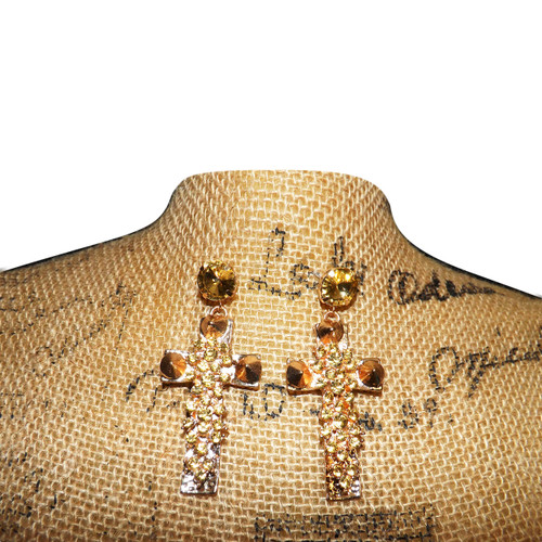 """Gold Faux Amber Stone Cross Earrings  3.5"""" tall, 2"""" wide. Made in China."""
