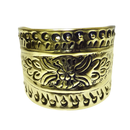 """Gold Engraved Cuff Bracelet  2.5"""" tall  6.5"""" wide  1.5"""" opening"""