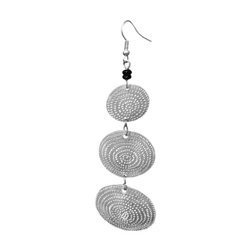 "Silver Metal Three Tier Disk Earrings  Silver disk drop dangle three tiered earrings; all earrings are engraved.  3"" in length  1"" disk"