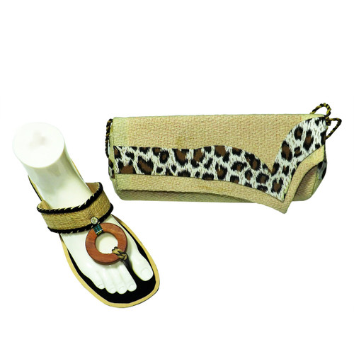 """Animal Print Straw Sandal and Bag Ensemble"""" Straw like sandals and matching purse shoulder strap and clutch bag.  Slides fit up to a 9-9.5 medium width. 1"""" heel.  Clutch bag measures 10""""x 5"""". 19"""" strap. Double snap closure."""