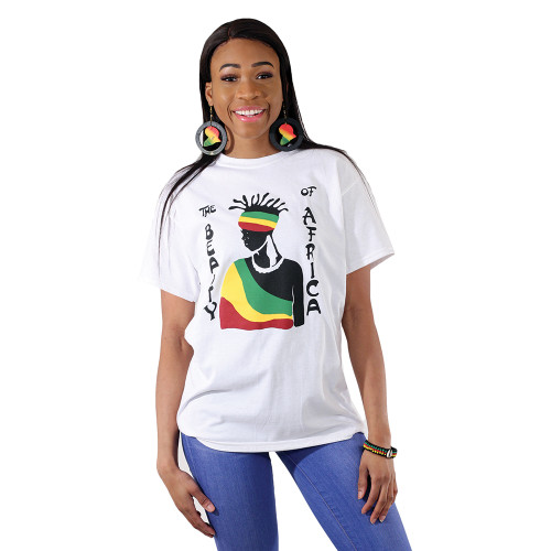 "Casual and comfortable, this The Beauty Of Africa T-Shirt has a powerful message. The t-shirt has crew neck and short sleeves. It white t-shirt has an outline of an African woman wearing a robe and head wrap in the red, yellow and green colors of Africa. Around her, in black letters, is the message, ""The Beauty of Africa."" Made in Honduras of 100% cotton.   Available in the following sizes:  MD - Fits up to a 40"" chest. 28"" length. XL - Fits up to a 47"" chest. 30"" length. 2X - Fits up to a 50"" chest. 30"" length."