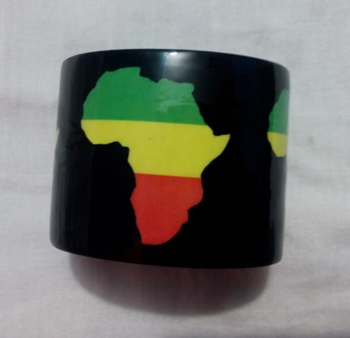 "Africa Map Cuff Bracelet  Black & Multicolored Africa Map 2"" Wide, 6.5"" from end to end 1"" gap."