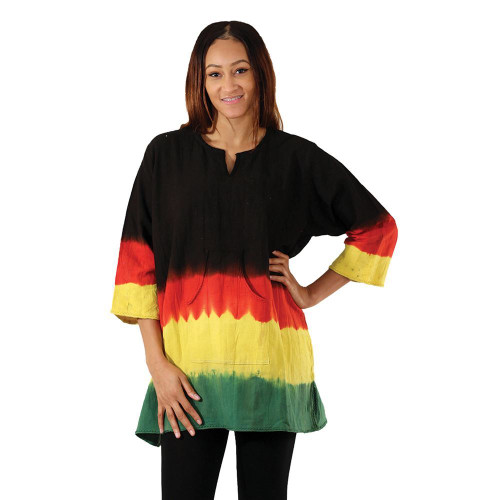 "Colorful and casual this Rasta Print Mud Dashiki lets you show your pride. The comfortable, traditional dashiki has long, loose sleeves and an unstructured shape. It is tie-dyed with the traditional Rasta colors of black, red, yellow and green. Comes with two convenient front pockets. Made of 100% cotton. Wash in cold water.  Free - Fits up 54"" chest. 33"" length. 18"" sleeve. Plus - Fits up 56"" chest. 34"" length. 18"" sleeve."