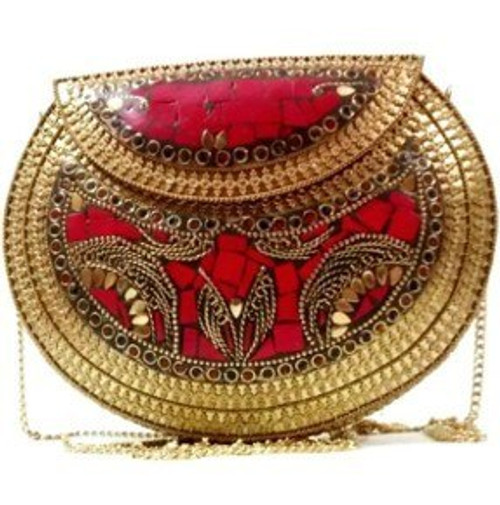 """Vintage Metal Purses  Metal Antique Design clutch bag  Lined interior Resin & Brass Metal Color: Multi-Colored, Gold Brass or Antique Silver Measurements: Smallest sizes 5"""" and larger purses measure 7.5 x 5 Made in India"""