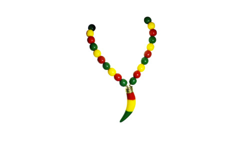 "12"" Beaded Rasta Tiger's Tooth Necklace  Rasta inspired tiger's tooth beaded necklace. All beads, tooth is 2"" big."