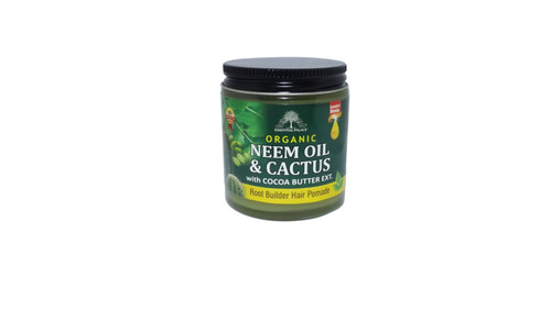 Neem Oil & Cactus Hair Pomade  Root Builder Healing Properties Restores damaged hair Leaves hair soft  Ingredients: Neem Oil, Cactus, Cocoa Butter, Prickly Pear Cactus, Vitamin E, Pure Mineral Jelly, Lanolin oil, coconut oil, extra virgin oil, sweet almond oil, castor oil, soybean oil, black cumin seed oil, fragrance and colorants.