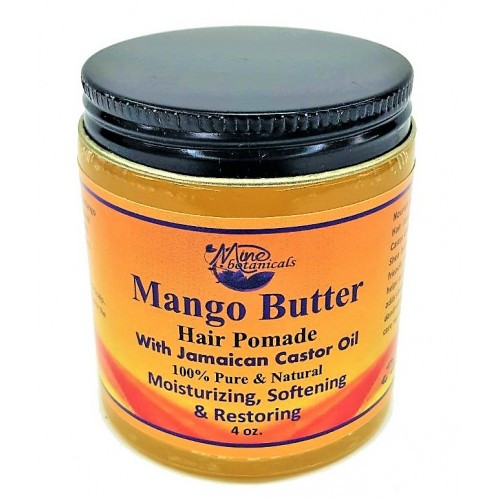 Mango Butter Hair Pomade  Ingredients: Raw Butyrospermum Parki (Shea Butter), Mango Butter, Coconut Oil, Jojoba Oil, Vitamin-E Oil, Pure Mineral Jelly, Aloe Vera, Grapefruit Seed Extract, Jamaican Black Castor Oil, Cactus Oil, Avocado Oil, Olive Oil, Bees Wax & Natural Fragrances.   Nourishes hair and scalp Can be used for beards Eliminates frizzy hair Stops hair breakage Soothes itchy scalp Controls dandruff Improves scalp health Overall hair maintenance formula for all styles