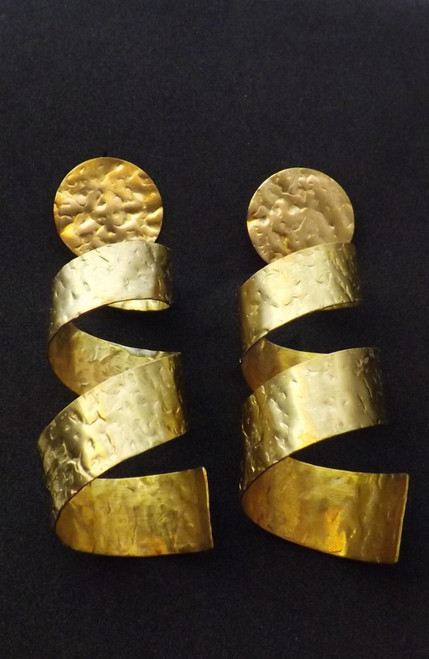 """Spiral Hammered Gold Brass Earrings  3"""" gold brass chic hammered spiral dangle earrings."""