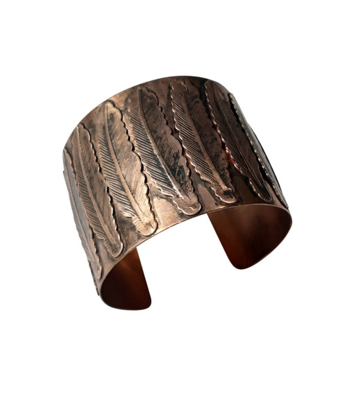 "Copper Feather Motif Cuff Bracelet  7"" in length 2"" in width 1"" gap"