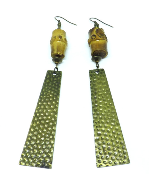 "Wooden Textured Metal Dangle Earrings  5"" length Textured metal & large wooden beads.  Oops: Beading is not the same size Made in China."