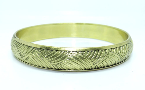 "Gold Textured Bangle Bracelet  Gold brass metal 2 7/8"" opening Made in India"