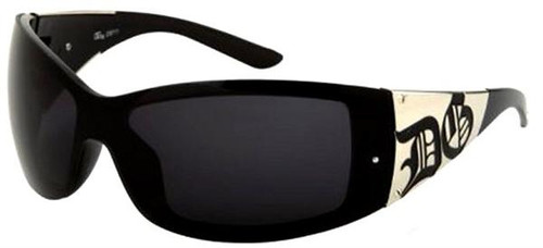 All black sunglasses with 100% UVA & UVB Protection, and gold accent on each side with embossed DG print.