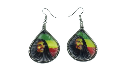 "Bob Marley Peacock Woven Earrings  2"" in length; 1 3/4"" wide."