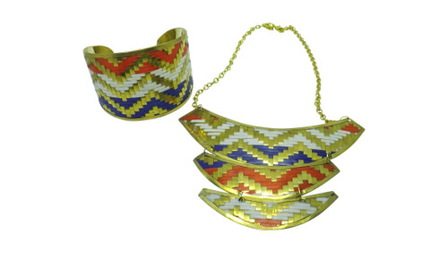 """Woven Metal Breastplate Necklace Set  14"""" Red, White, Blue & Gold woven metal breastplate necklace set; comes with matching cuff bracelet.   Made in India."""