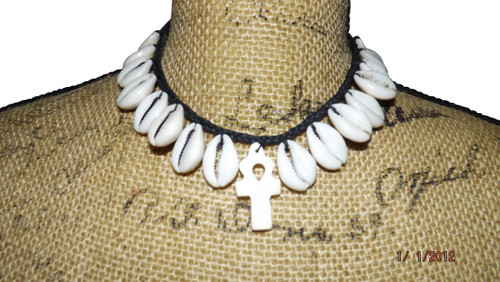 "Cowrie Ankh Necklace  10"" choker 1"" ankh pendant"