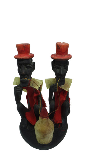 """Men Drinking Wooden Sculpture  6"""" wooden sculpture of two African Men Drinking from a vessel.   4"""" wide  Imported"""