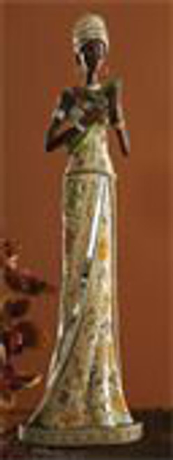 """Sun Princess Like a golden ray of sunshine, this elegant lady carries with her the promise of a new season. Her strapless gown and headwrap are hand-painted with bright flowers. Mirrored mosaics and metallic jewelry reflect her exuberant spirit. Resin. 16 1/2"""" h."""