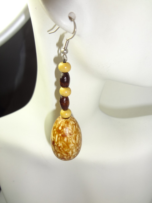 """African Nut Earrings with or without Grass 3-4"""" long. Made in Cameroon."""