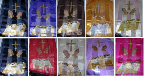 Gold embroidered prayer hand scarf with bible print. Accentuate your church outfit with a matching scarf. 13 x 60, Silk Like Feel, 100% percent polyester scarf.  Many colors available.