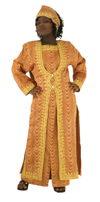 """Queen Dress Set 100% polyester; best if hand washed. One size fits all; free size fits up to a 48"""" bust and hips. Includes dress, jacket, and crown.   Available in: Brown, Cappuccino, Tan, Copper."""