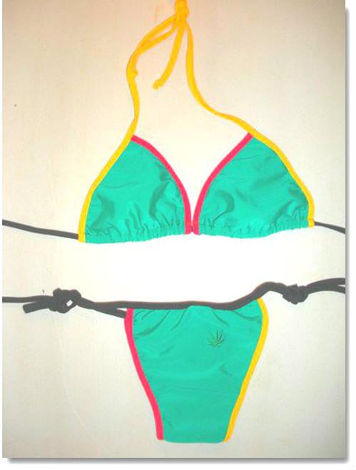 Green Rasta bikini, Brazilian cut in red, green, yellow or black with Rasta trim. Sizes S, M, L. Nylon Fabric.