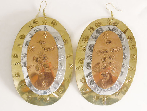 "Large Oval Tri-Tone Earrings....3.5"" long and 2.25"" wide. Made in India."