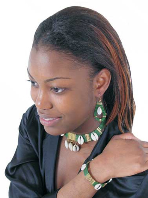 """Get into the glamour of green! The ultimate face-framing look with dangle earrings (2"""" big), neck-enhancing choker (13"""" circumference) and bracelet (12"""" circumference). Cowrie shells are .25"""" big."""
