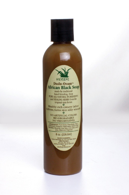 Dudu Osum' liquid black soap! Lather up in this all-natural creamy soap for baby-soft smooth skin. Enriched with pure honey which provides skin with a protective moisture blanket. Also enriched with Shea Butte to make skin supple and healthy, and Osun (camwood) extract to heal scars and stretch marks. The makers of 'Dudu-Osum' have also added aloe vera and lime juice to provide your skin with that cool refreshing feeling that we all crave. Made in Nigeria. Take the natural road to cleansing today! You'll love the results.