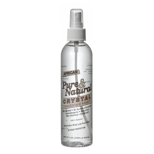 Feel Confident and fresh with 24-hour odor protection all-naturally! This exclusive formula is 100% natural, unscented, non-staining and without any harsh chemicals, fragrance, or alcohol. Convenient spray pump design is quick and easy to use. Made from natural mineral salts and purified water. Can also be sprayed on feet for odor elimination! 8 oz.   -Ozone Friendly -No Animal Testing or By-Products